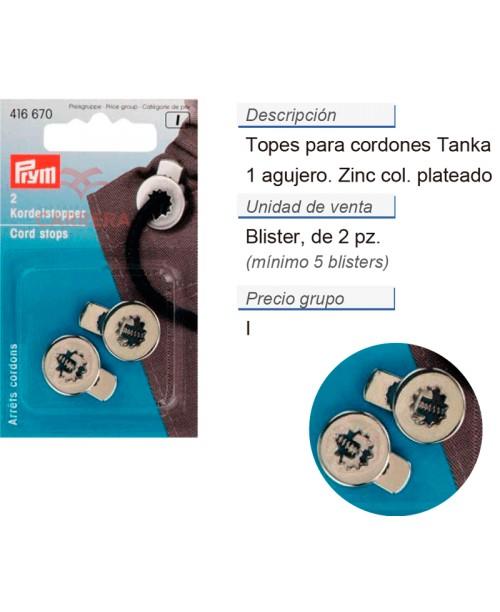 Tope cordones tanka redondo zinc plateado CONT: 5 TAR de 2 p