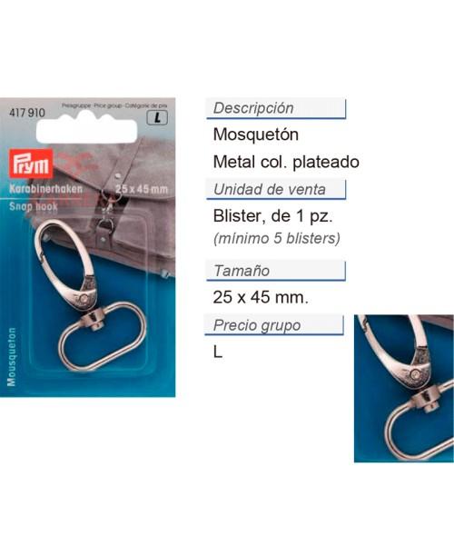 Mosquetón 25 mm plateado CONT: 5 TAR de 1 pz