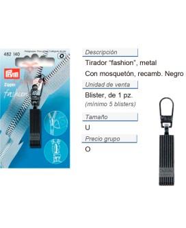 Tirador fashion zip casual negro CONT: 5 TAR de 1 pz