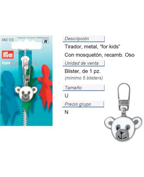 Tirador fashion zip prymolino oso plateado viejo/col. CONT: