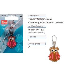 Tirador fashion zip para niños Lechuza marrón/fucsia CONT: 5