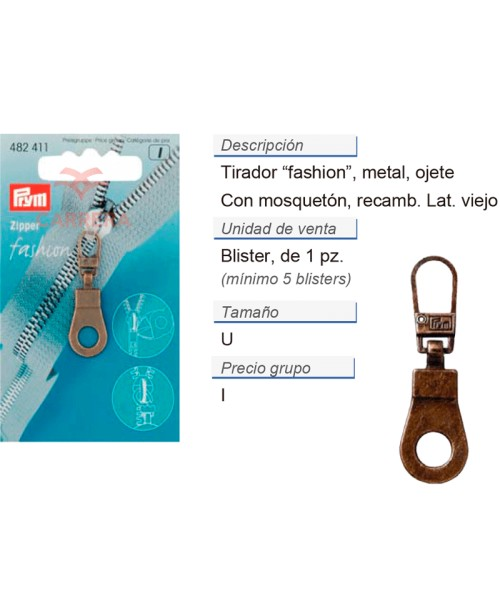 Tirador fashion zip ojete latón viejo CONT: 5 TAR de 1 pz
