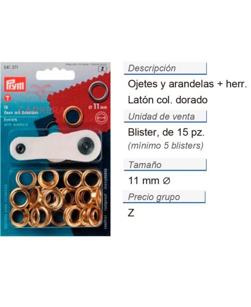 Ojetes y arandelas latón 11,0 mm dorado + herr. CONT: 5 TAR