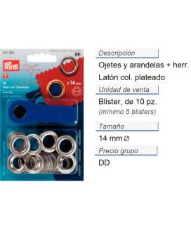 Ojetes y arandelas latón 14,0 mm plateado + herr. CONT: 5 TA