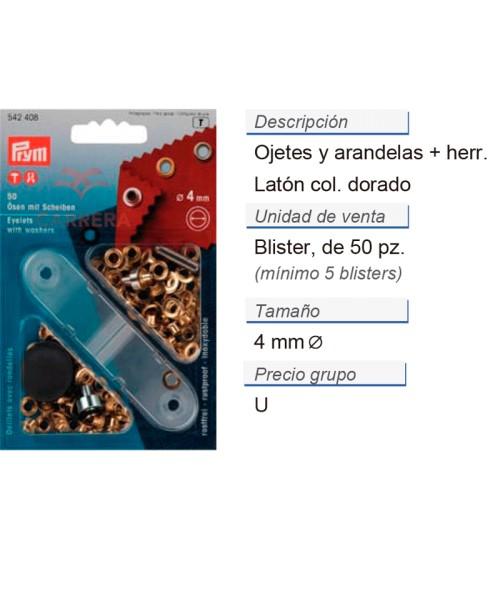 Ojetes y arandelas latón 4,0 mm dorado CONT: 5 TAR de 50 pz