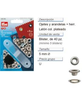Ojetes y arandelas latón 5,0 mm plateado CONT: 5 TAR de 40 p