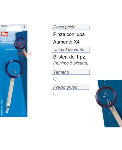 PINZA CON LUPA 5 UDS