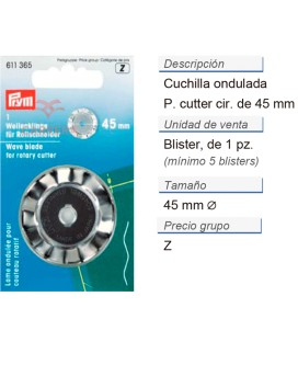 Cuchilla ondulada p. cuter circ. 45 mm CONT: 5 TAR de 1 pz