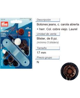 Botones jeans laurel latón 17 mm cobre viejo CONT: 5 TAR de