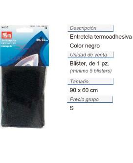 Teletta termoadesiva 90x60cm negro CONT: 5 TAR de 1 pz