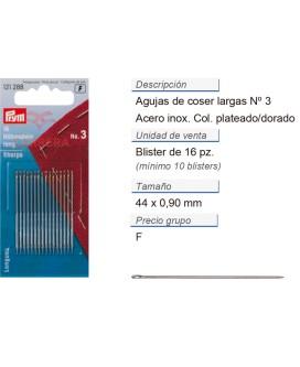 Agujas de coser largas no. 3 acero 0,90 x 44 mm plateado/dor