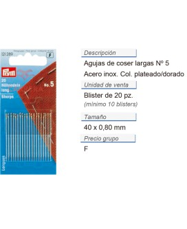 Agujas de coser largas no. 5 acero 0,80 x 40 mm plateado/dor