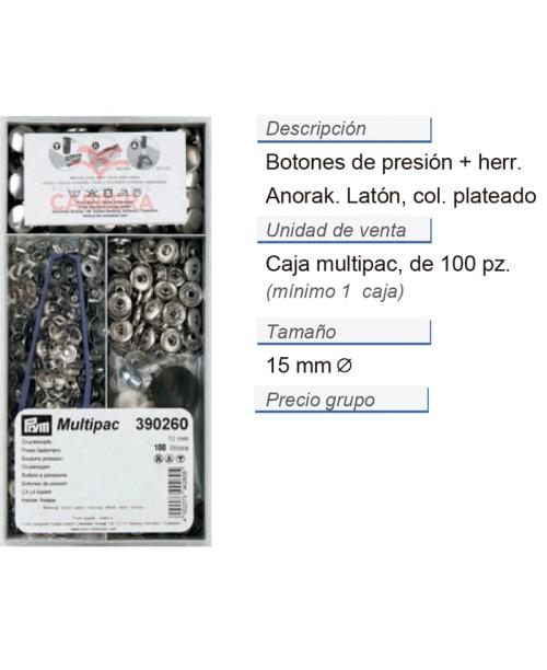 Botones pres. anorak latón 15 mm plateado +herr. CONT: 1 LAT