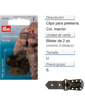 Clips p. peleteria marrón CONT: 5 TAR de 2 pz