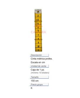 Cinta métrica profesional + clip 150 cm/cm CONT: 10 PZ de 1