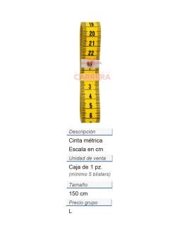 Cinta métrica fibra vid. 150 cm/cm CONT: 10 PZ de 1 pz