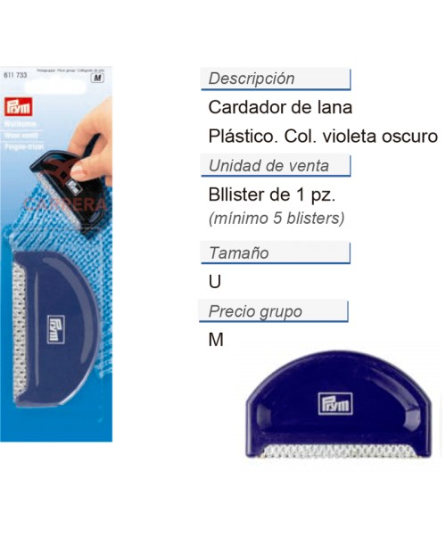 Cardador de lana CONT: 5 TAR de 1 pz