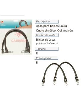 Asas para bolsos Laura marrón CONT: 3 TAR de 2 pz