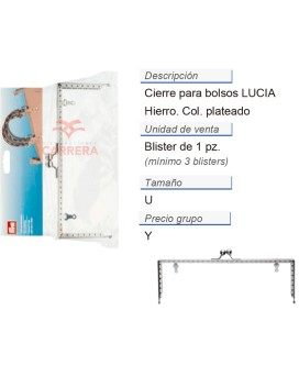 Cierre para bolsos Lucia plateado CONT: 3 TAR de 1 pz