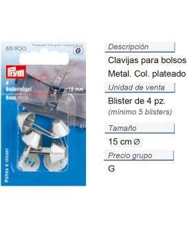 Clavijas para bolsos 15 mm plateado CONT: 5 TAR de 4 pz