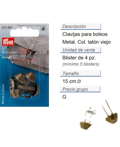 Clavijas para bolsos 15 mm latón viejo CONT: 5 TAR de 4 pz