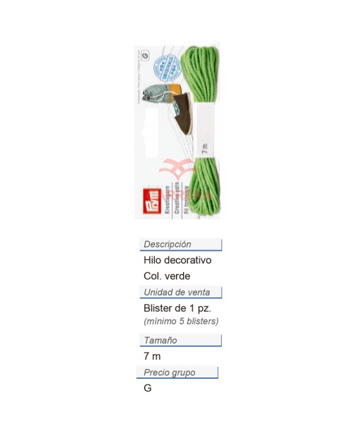 Alpargatas - Hilo decorativo verde (nuevo diseño) CONT: 3 TA